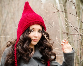 Womens Cranberry Red Pixie Hat - Chunky Knit Ear Flap Hat - Womens Accessories Fall Fashion Winter Hat