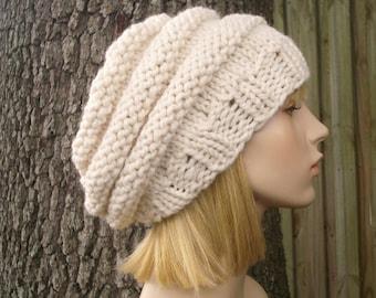 Nautilus Beret Knitting Pattern : Hand Knit Cable Beret Hat Cable Beret Hat in Persimmon