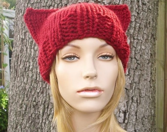 Knit Hat Womens Hat - Cat Beanie Hat in Cranberry Red Knit Hat - Red Hat Red Cat Hat Red Beanie Red Cat Beanie Womens Accessories Winter Hat