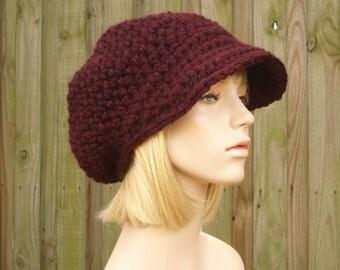 Womens Hat Red Newsboy Hat - Crochet Newsboy Hat Oxblood Red Crochet Hat - Red Hat Red Beanie Wine Hat Womens Accessories