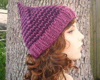 Knit Hat Womens Hat - Purple Gnome Hat in Plumrose Purple Knit Hat - Purple Hat Purple Beanie Womens Accessories Winter Hat