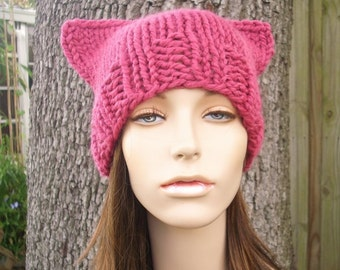 Pink Pussyhat Womens Hat - Pink Cat Beanie - Raspberry Pink Knit Hat - Pink Cat Hat Pink Hat Pink Beanie Pussy Hat - READY TO SHIP