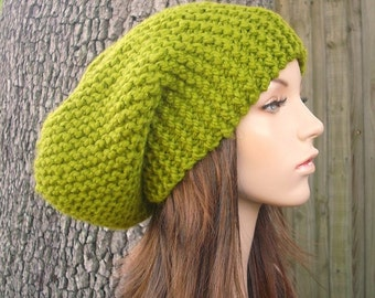 Knit Hat Womens Hat Slouchy Beanie - Oversized Slouchy Hat Lemongrass Green Knit Hat - Green Hat Green Beanie Womens Accessories Winter Hat