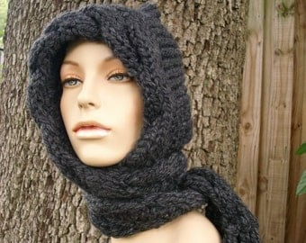 Knit Hat Womens Hat - Cable Scarf Hat in Charcoal Grey - Hooded Scarf Knit Hat - Grey Hat Grey Scarf Womens Accessories