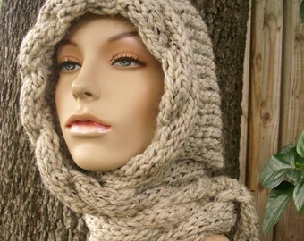 Knit Hat, Womens Hat, Hooded Scarf, Cable Scarf Hat, Oatmeal Hat, Oatmeal Scarf, Oatmeal Cable Scarf, Oatmeal Hood, Womens Accessories