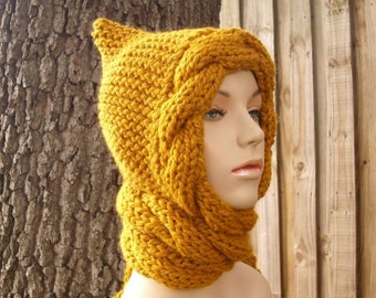 Knit Hat Womens Hat - Mustard Cable Scarf Hat Mustard Yellow Hooded Scarf Knit Hat - Yellow Hat Yellow Scarf Mustard Hat Womens