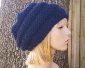 Knit Hat Womens Hat Slouchy Beanie - Oversized Beehive Beret Hat in Navy Blue Knit Hat - Navy Hat Blue Hat Womens Accessories