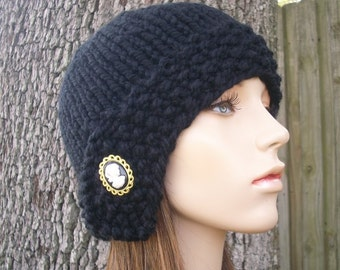 Knit Hat Black Womens Hat - Cloche Hat Black Knit Hat - Black Hat Black Beanie Black Cloche Womens Accessories