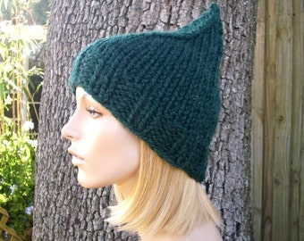 Knit Hat Womens Hat - Green Gnome Hat in Pine Green Knit Hat - Green Hat Womens Accessories Winter Hat