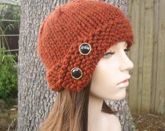 Burnt Orange Womens Hat Cloche Hat Rust Orange Chunky Knit Hat - Rust Hat Orange Hat Rust Cloche Orange Cloche Womens Accessories Winter Hat
