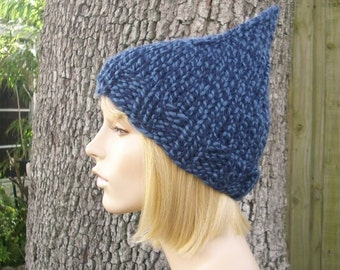 Twist Blue Gnome Hat Chunky Knit Hat Womens Hat - Blue Hat Blue Beanie Blue Gnome Beanie Womens Accessories Winter Hat
