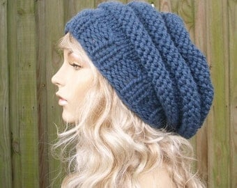 Knit Hat Womens Hat Slouchy Beanie - Oversized Beehive Beret Hat in Denim Blue Knit Hat - Blue Hat Blue Beret Womens Accessories