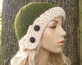 Knit Hat Womens Hat - Cloche Hat in Olive Green and Cream Knit Hat - Green Hat Green Cloche Womens Accessories Winter Hat