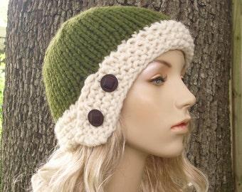 Knit Hat Womens Hat - Cloche Hat in Olive Green and Cream Knit Hat - Green Hat Green Cloche Womens Accessories Winter Hat