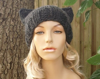 Grey Knit Hat Grey Womens Hat Grey Hat - Grey Cat Beanie Hat in Charcoal Grey Hat Womens Accessories Winter Hat