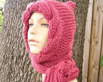 Pink Womens Hat - Pink Cable Scarf Hat Raspberry Pink Hooded Scarf Knit Hat - Pink Hat Pink Scarf Womens Accessories Fall Fashion