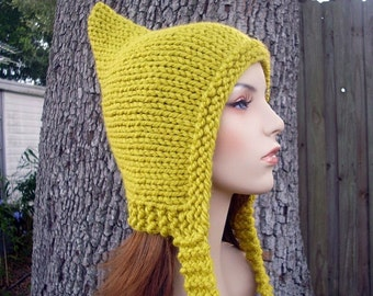 Knit Hat Womens Hat - Yellow Pixie Hat in Citron Yellow Knit Hat Yellow Hat Womens Accessories - READY TO SHIP