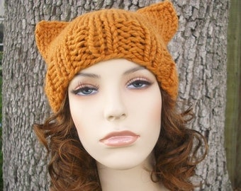 Knit Hat Womens Hat - Cat Beanie Hat in Apricot Orange Knit Hat - Orange Hat Orange Beanie Orange Cat Hat Womens Accessories Winter Hat