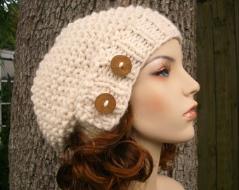 Knit Hat Womens Hat - Seed Beret Hat in Cream Knit Hat - Cream Hat Cream Beret Cream Beanie Cream Womens Hat Womens Accessories