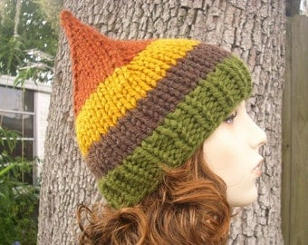 Knit Hat Womens Hat - Gnome Hat in Vermont Hamlet Green Brown Yellow Rust Knit Hat - Womens Accessories Winter Hat - READY TO SHIP