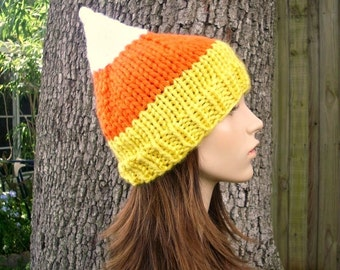 Knit Hat Womens Hat - Candy Corn Hat Candy Corn Beanie - Yellow Hat Orange Hat White Hat Knit Hat Womens Accessories - READY TO SHIP
