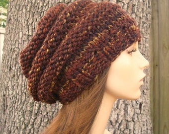 Knit Hat Womens Hat - Oversized Beehive Beret Hat in Sequoia Brown Knit Hat - Brown Hat Brown Beret - Womens Accessories