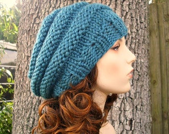 Knit Hat Womens Hat - Original Beehive Beret Teal Blue Knit Hat Blue Hat Blue Beret Teal Hat Teal Beret Womens Accessories - READY TO SHIP