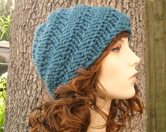 Knit Hat Womens Hat - Swirl Beanie in Teal Blue Knit Hat - Blue Hat Blue Beanie Teal Hat Teal Beanie Womens Accessories Winter Hat