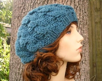Teal Blue Cable Beret Chunky Knit Hat - Womens Hat Blue Beret Blue Hat Blue Beanie Teal Hat Womens Accessories
