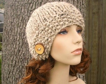 Knit Hat Womens Hat - Oatmeal Cloche Hat in Tweed Oatmeal Knit Hat - Oatmeal Hat Womens Accessories Winter Hat