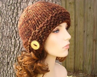 Knit Hat Womens Hat - Brown Cloche Hat Sequoia Brown Knit Hat - Brown Hat Brown Beanie Womens Accessories Winter Hat
