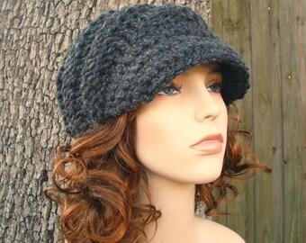 Charcoal Grey Newsboy Hat Chunky Knit Hat Womens Hat Grey Hat Grey Beanie - Swirl Beanie with Visor Grey Knit Hat - Womens Accessories