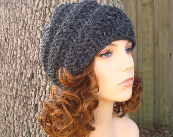 Grey Womens Hat Grey Mens Hat - Swirl Beanie Charcoal Grey Knit Hat - Grey Hat Grey Beanie Womens Accessories Winter Hat - READY TO SHIP