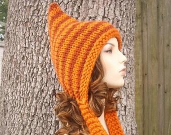 Knit Hat Orange Womens Hat - Pixie Hat in Pumpkin and Rust Knit Hat - Orange Hat Orange Pixie Hat Womens Accessories Winter Hat