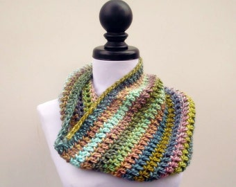 Crocheted Cowl Scarf - Hamptons Cowl Scarf Watercolors - Blue Cowl Green Cowl Blue Scarf Green Scarf Womens Accessories