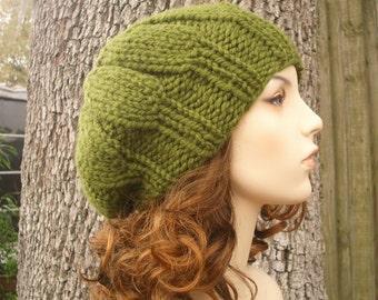 Knit Hat Green Womens Hat - Urchin Beret Hat in Olive Green Knit Hat - Green Hat Green Beret Green Beanie Womens Accessories