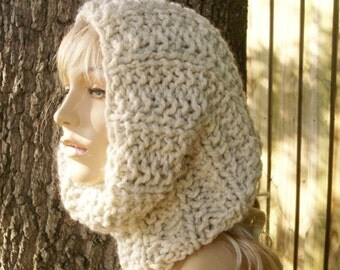Knit Cowl Scarf - Twilight Cowl in Cream Wheat Tweed Cowl Scarf - Cream Cowl Wheat Cowl Cream Scarf Wheat Scarf Womens Accessories