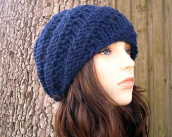 Knit Hat Womens Hat - Swirl Beanie in Navy Blue Knit Hat - Blue Hat Blue Beanie Navy Hat Navy Beanie Womens Accessories Winter Hat
