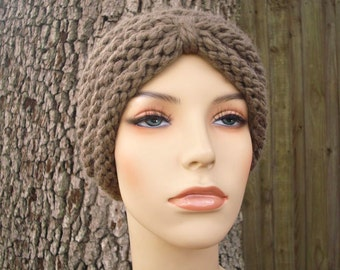 Knit Hat Womens Hat - Turban Hat Beanie in Taupe Knit Hat - Taupe Hat Taupe Beanie Taupe Turban Brown Hat Womens Accessories Winter Hat