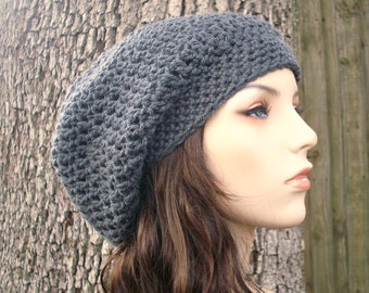 Crochet Hat Womens Hat Slouchy Beanie - Weekender Slouchy Hat in Charcoal Grey Crochet Hat - Grey Hat Womens Accessories Winter Hat