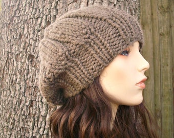 Knit Hat Womens Hat - Urchin Beret Hat in Taupe Knit Hat - Taupe Hat Taupe Beret Brown Hat Brown Beret Brown Beanie Womens Accessories