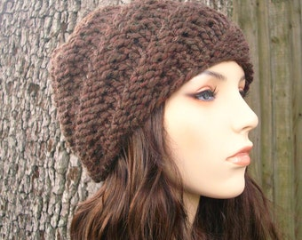 Brown Chunky Knit Hat Brown Mens Hat Brown Womens Hat - Swirl Beanie Brown Knit Hat - Brown Beanie Brown Hat Womens Accessories Winter Hat