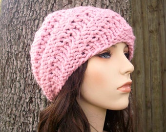 Knit Hat Pink Womens Hat - Swirl Beanie in Pink Knit Hat - Pink Hat Pink Beanie Womens Accessories Winter Hat