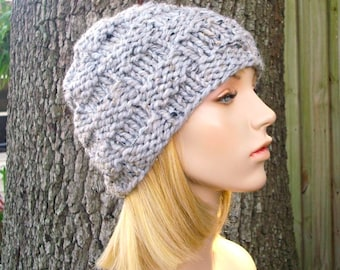Knit Hat Grey Mens Hat Grey Womens Hat - Basket Weave Beanie in Tweed Grey Knit Hat - Grey Hat Grey Beanie Womens Accessories Winter Hat