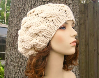 Cream Cable Beret Chunky Knit Hat Cream Womens Hat - Cream Hat Cream Beret Cream Beanie Cream Knit Hat Womens Accessories