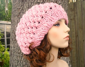 Knit Hat Womens Hat Slouchy Beanie Slouchy Hat - Odessa Beret in Pink Knit Hat - Pink Hat Pink Beret Womens Accessories