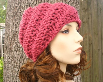 Raspberry Pink Knit Hat Pink Womens Hat - Chunky Knit Swirl Beanie - Pink Hat Pink Beanie Womens Accessories Winter Hat