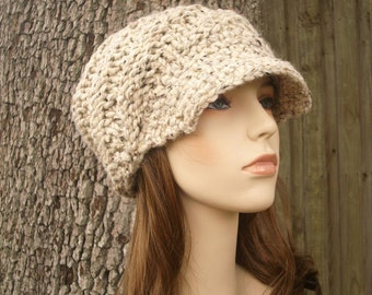 Oatmeal Newsboy Hat Oatmeal Knit Hat Oatmeal Womens Hat - Swirl Beanie with Visor - Oatmeal Hat Oatmeal Beanie Womens Accessories