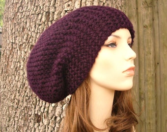 Purple Hat Purple Beanie Womens Hat Slouchy Beanie - Oversized Beanie Slouchy Hat Eggplant Purple Knit Hat - Womens Accessories Winter Hat