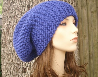 Oversized Knit Hat Womens Hat Blue Slouchy Beanie - Blue Slouchy Hat Cobalt Blue Hat Blue Beanie Womens Accessories - READY TO SHIP